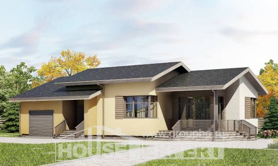 135-002-L One Story House Plans with garage in back, modern Villa Plan