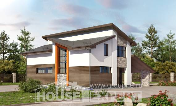 200-010-R Two Story House Plans with mansard roof with garage, spacious Home Blueprints, House Expert