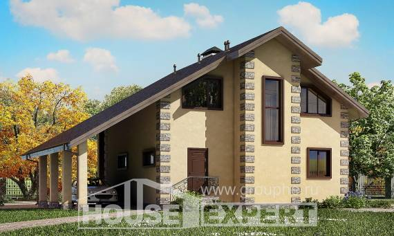 150-003-R Two Story House Plans with garage under, compact Drawing House,