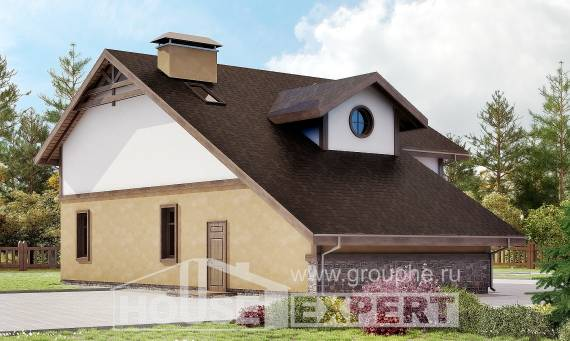 180-011-L Two Story House Plans with mansard roof with garage in back, average Architectural Plans,