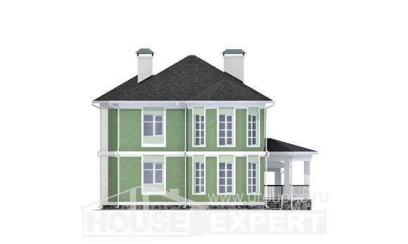 170-001-L Two Story House Plans with garage, modest Design Blueprints