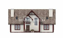 300-008-L Two Story House Plans and mansard with garage under, spacious Blueprints