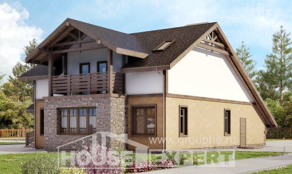 180-011-L Two Story House Plans and mansard and garage, a simple Home Plans,