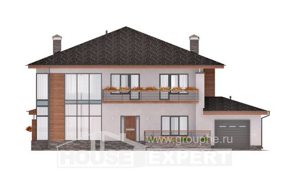 305-001-R Two Story House Plans with garage in front, luxury Construction Plans,