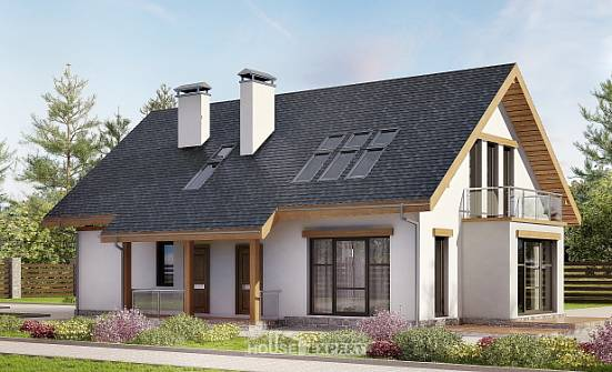 185-005-R Two Story House Plans and mansard and garage, spacious Ranch,