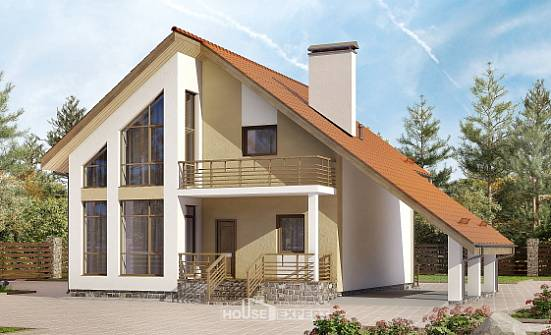 170-009-R Two Story House Plans with mansard with garage, inexpensive Models Plans,