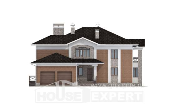 520-002-L Three Story House Plans with garage under, cozy Woodhouses Plans, House Expert