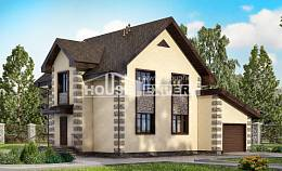 160-004-R Two Story House Plans and mansard with garage under, compact House Building,