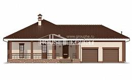 160-015-R One Story House Plans with garage in front, compact Dream Plan,
