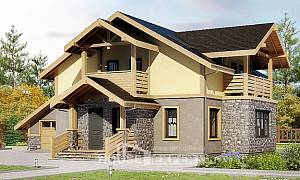 180-011-R Two Story House Plans with mansard roof with garage, best house Models Plans