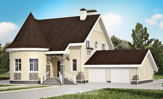 275-001-L Two Story House Plans with mansard roof with garage under, a huge Blueprints,