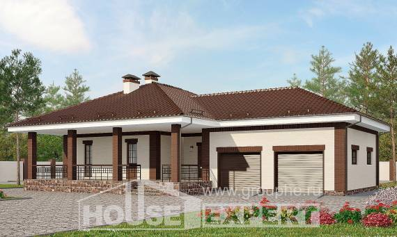 160-015-R One Story House Plans with garage under, economical House Blueprints,