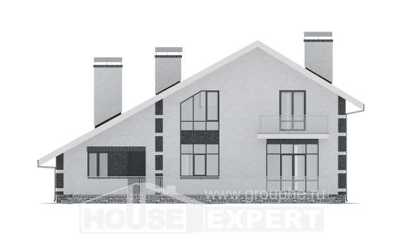 190-008-R Two Story House Plans with mansard with garage, average Ranch, House Expert