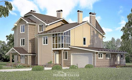 555-001-L Three Story House Plans and mansard with garage under, modern Home Blueprints, House Expert
