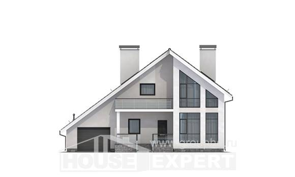 200-007-L Two Story House Plans and mansard and garage, luxury Plan Online
