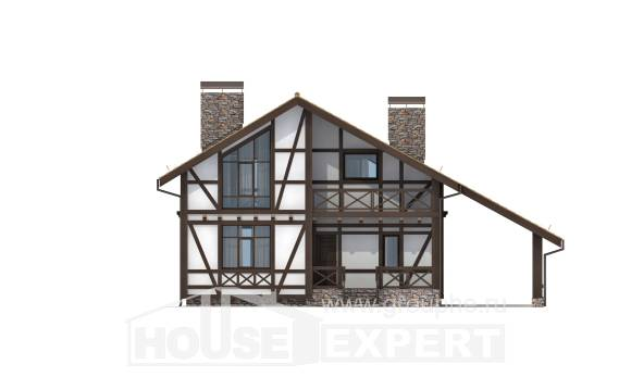 155-002-R Two Story House Plans with mansard with garage in front, modern Models Plans,