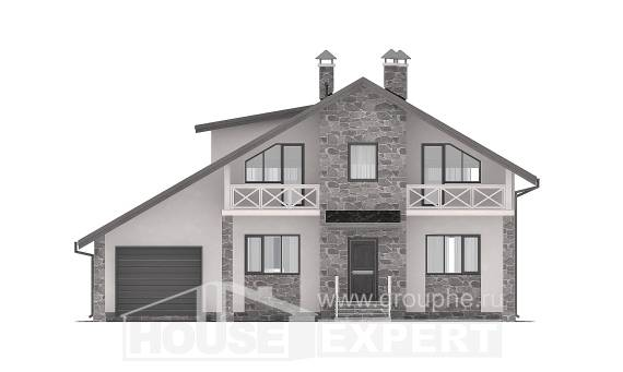 180-017-L Two Story House Plans with mansard with garage in back, average Plans To Build,